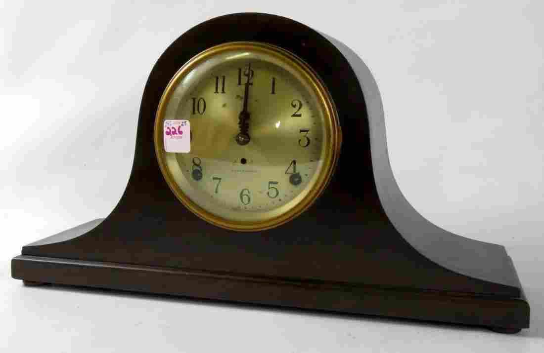 VINTAGE SETH THOMAS MAHOGANY MANTLE CLOCK WITH BRASS