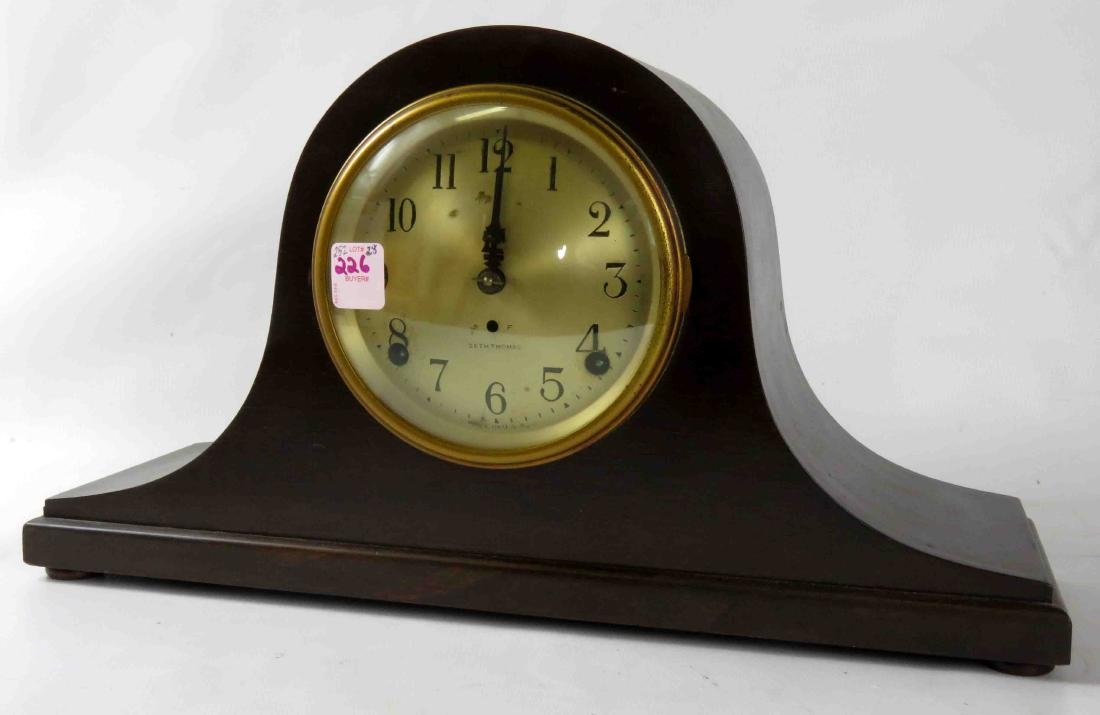 VINTAGE SETH THOMAS MAHOGANY MANTLE CLOCK WITH BRASS