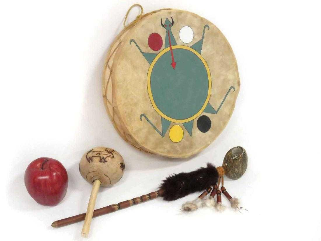 LOT (3) NATIVE AMERICAN INCLUDING SW DRUM WITH TURTLE