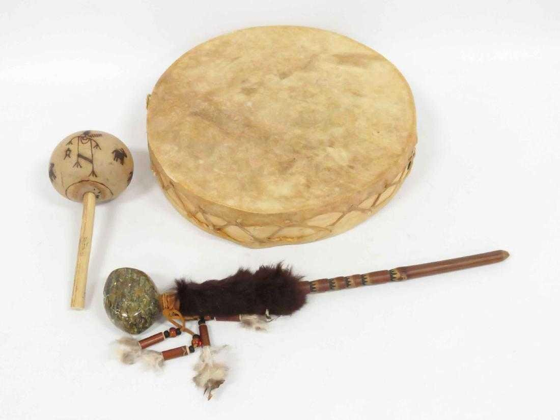 LOT (3) NATIVE AMERICAN INCLUDING SW DRUM WITH TURTLE - 2