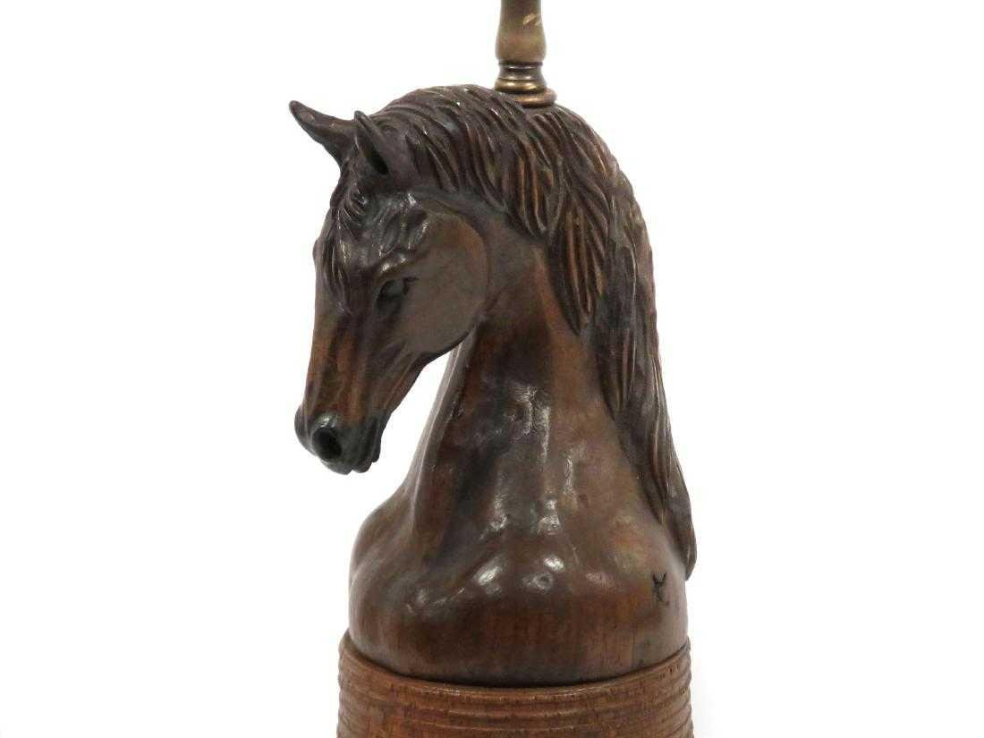 MID-CENTURY CARVED WALNUT HORSE HEAD TABLE LAMP. HEIGHT - 2
