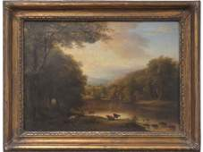 ENGLISH SCHOOL (19TH CENTURY), OIL ON CANVAS, COWS BY A