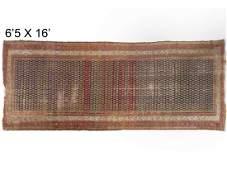 """ANTIQUE NORTH PERSIAN PUM CORRIDOR RUG. 6'5"""" X 16'"""