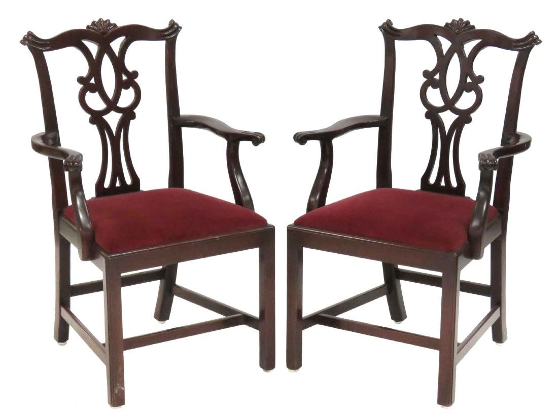 PAIR CHIPPENDALE STYLE CARVED ARMCHAIRS