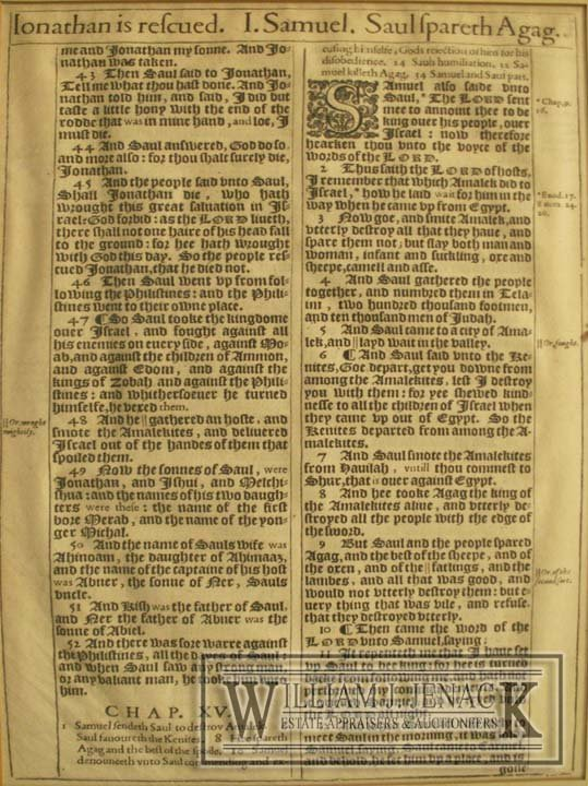 1024: EARLY PRINTED BIBLE PAGE, 16/17TH CENTURY