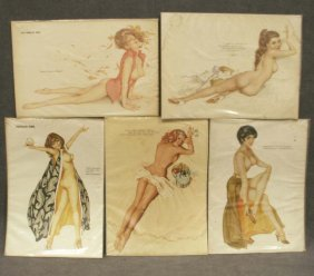 LOT (5) VARGAS GIRL PRINTS. 11 X 8""