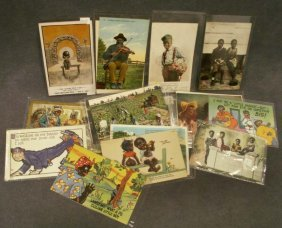 LOT (25) ASSORTED VINTAGE BLACK SUBJECT POSTCARDS
