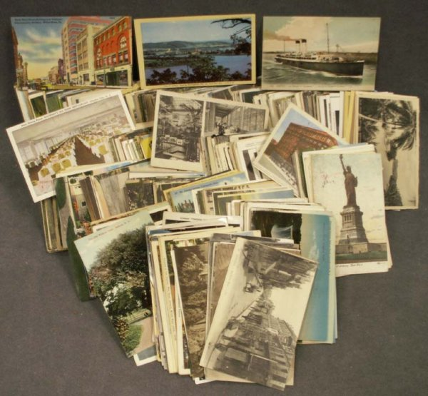 1101: BOX ASSORTED VINTAGE U.S. & FOREIGN POSTCARDS