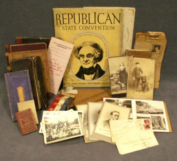 1109: BOX ASSORTED EPHEMERA INCLUDING DIARY'S 1857-1889