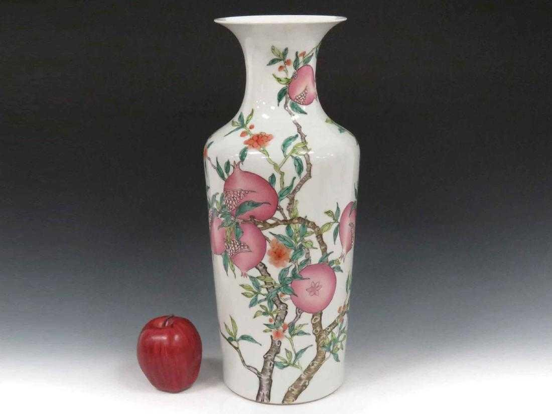 "CHINESE DECORATED PORCELAIN ""PEACHES"" VASE, BEARING"