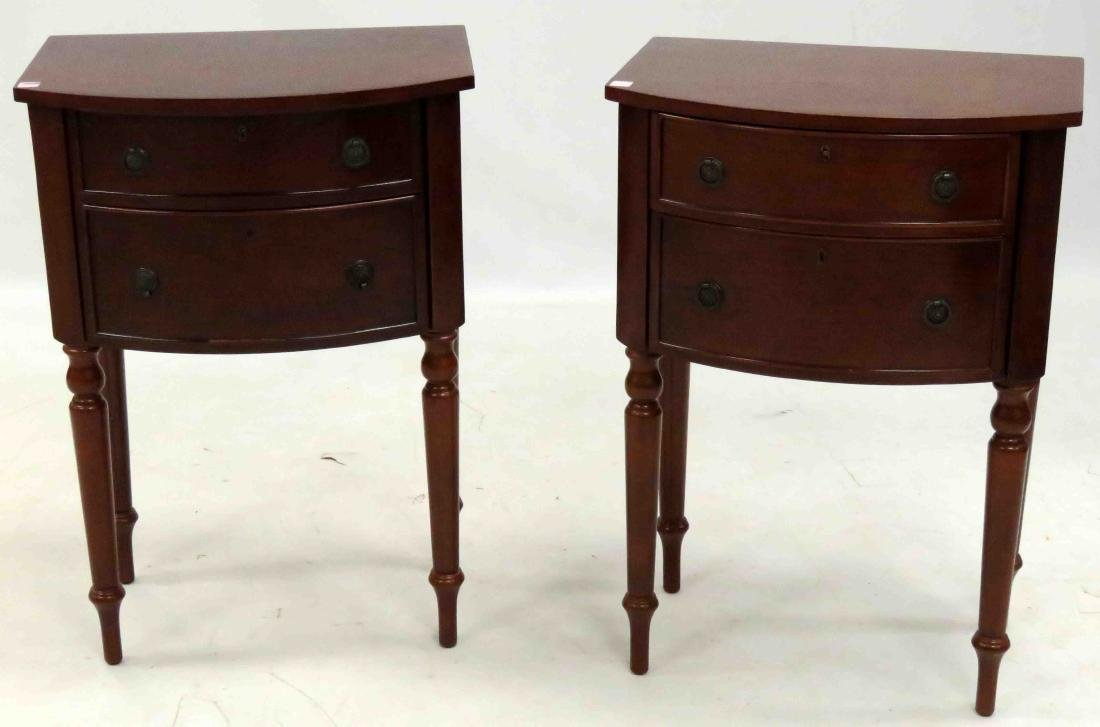 "PAIR CHERRY DOUBLE-DRAWER STANDS. HEIGHT 32""; WIDTH 22"