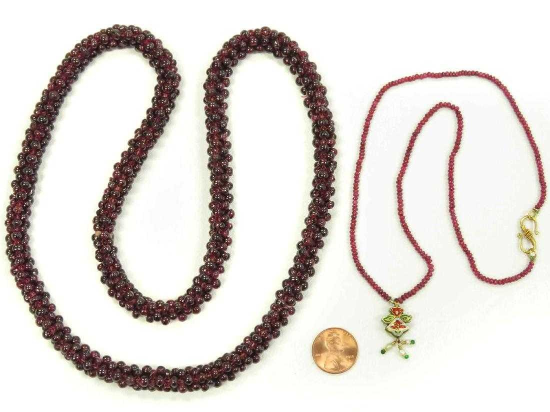 LOT (2) MIDDLE EASTERN GARNET BEADED ROPE NECKLACES