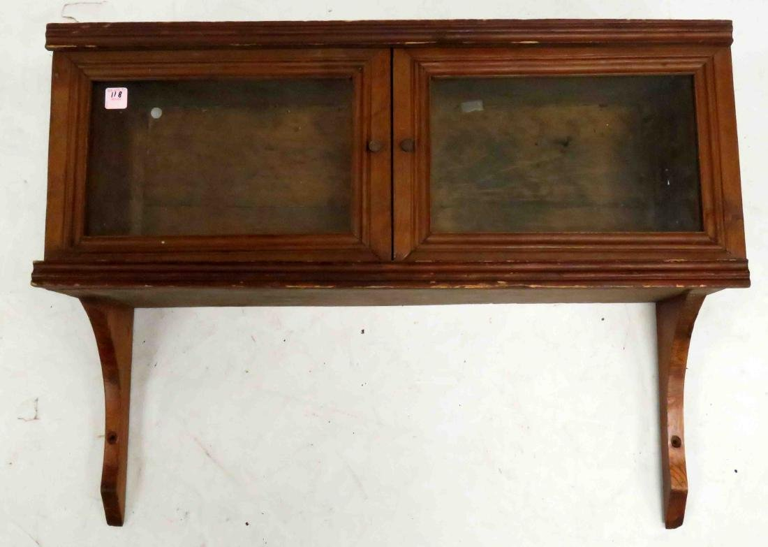 CARVED PANELED WALNUT HANGING CUPBOARD, 19/20TH