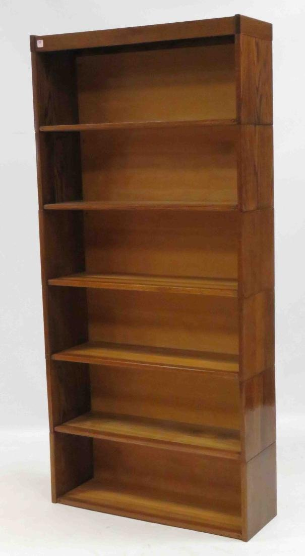 """VINTAGE OAK STACKING BOOKCASE. HEIGHT 72""""; WIDTH 34"""""""