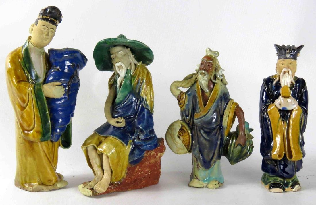 """LOT (4) CHINESE POTTERY MUD FIGURES. HEIGHT 6-8"""""""