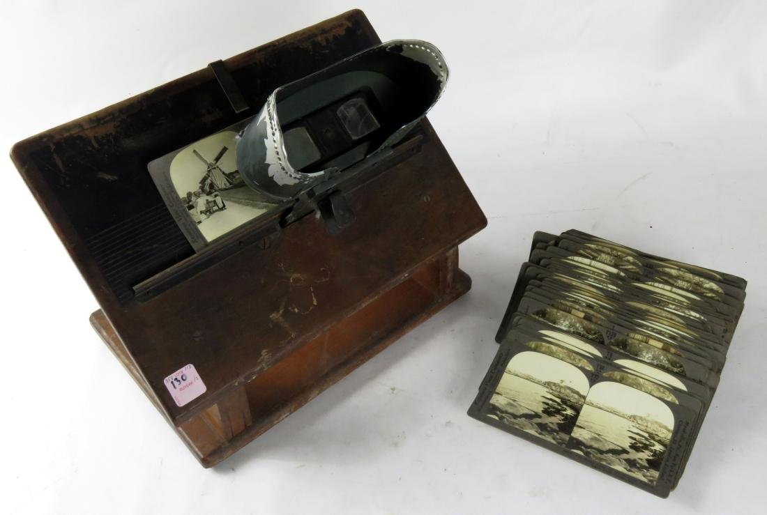 LOT (2) VINTAGE STEREO VIEWER & KEYSTONE VIEW CARDS