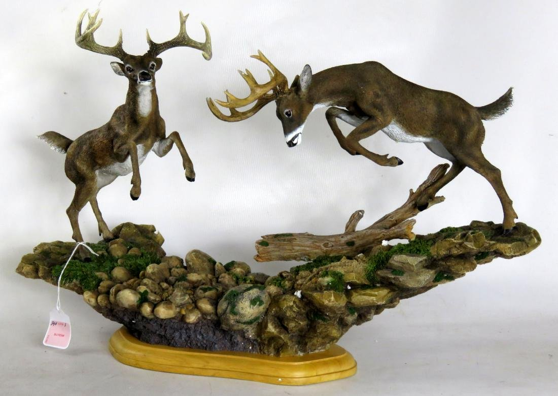 """COMPOSITION BUTTING WHITE TAIL BUCKS. HEIGHT 14""""; WIDTH"""