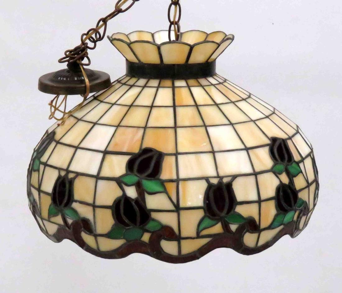 TIFFANY STYLE LEADED GLASS HANGING DOME. DIAMETER 18""