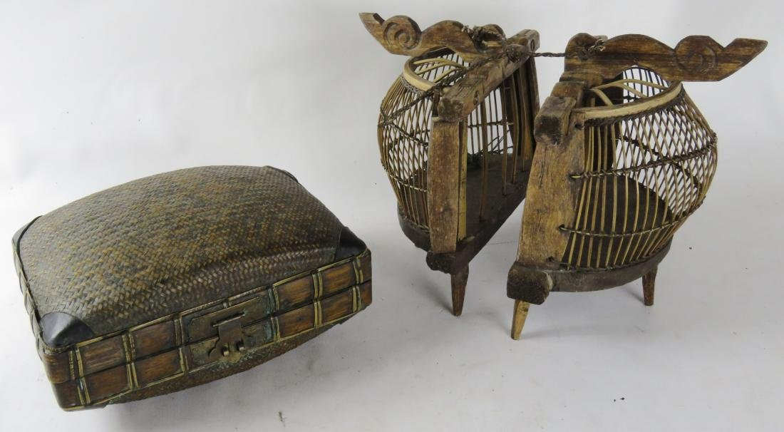 LOT INCLUDING (2) CRICKET CAGES & BAMBOO BOX