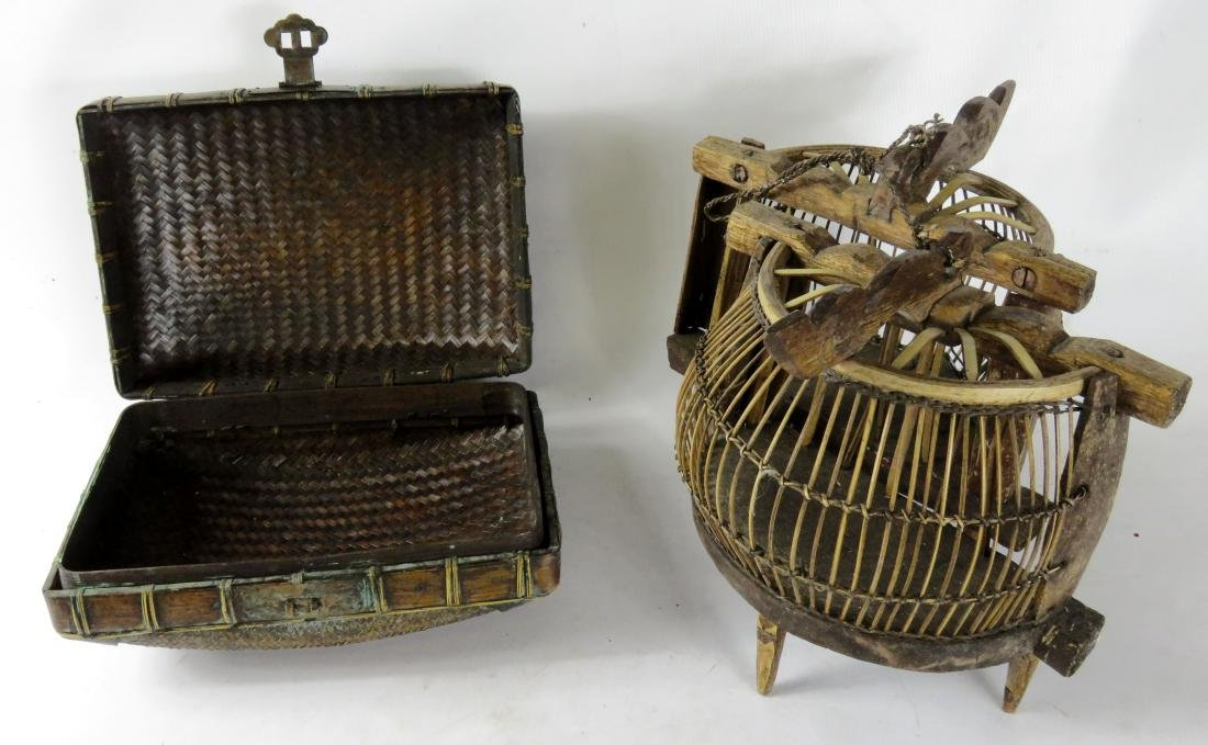 LOT INCLUDING (2) CRICKET CAGES & BAMBOO BOX - 2