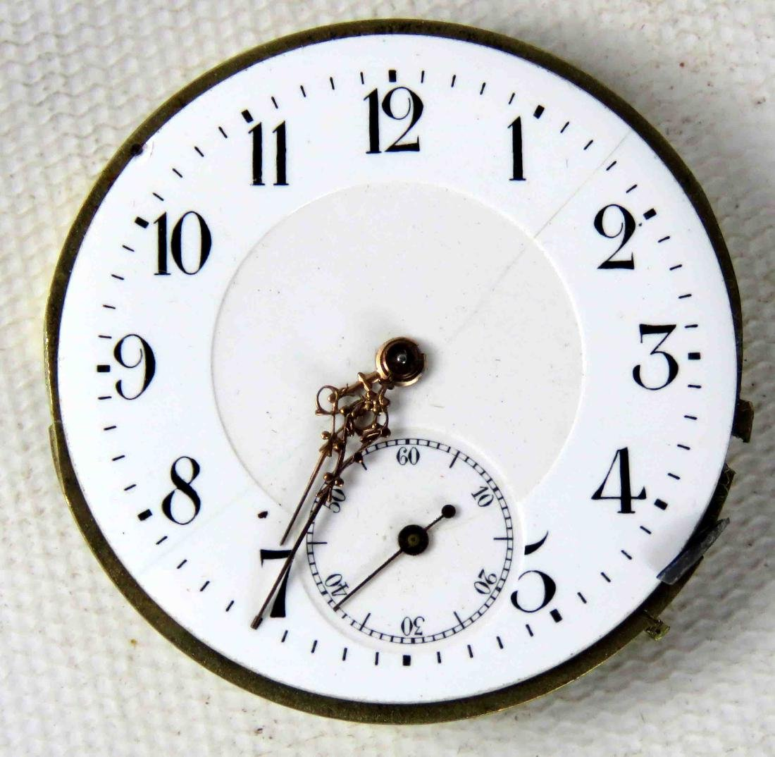 VINTAGE JEWELED POCKET WATCH MOVEMENT MAKER OWNED, 19TH