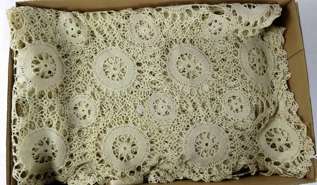 """CROCHETED TABLECLOTH. 84 X 132"""""""