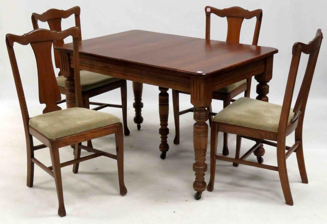 VICTORIAN FRUITWOOD EXTENSION DINING TABLE WITH (2)
