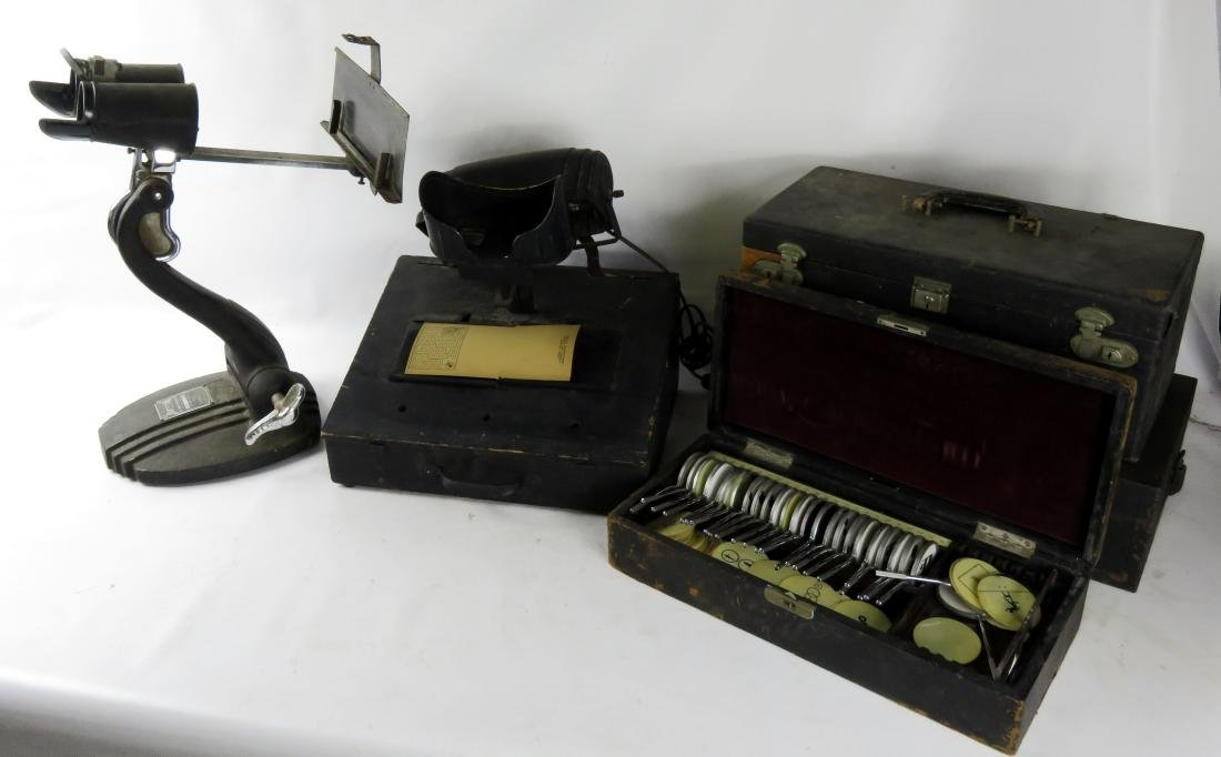 LOT ASSORTED VINTAGE OPTICIANS EQUIPMENT INCLUDING