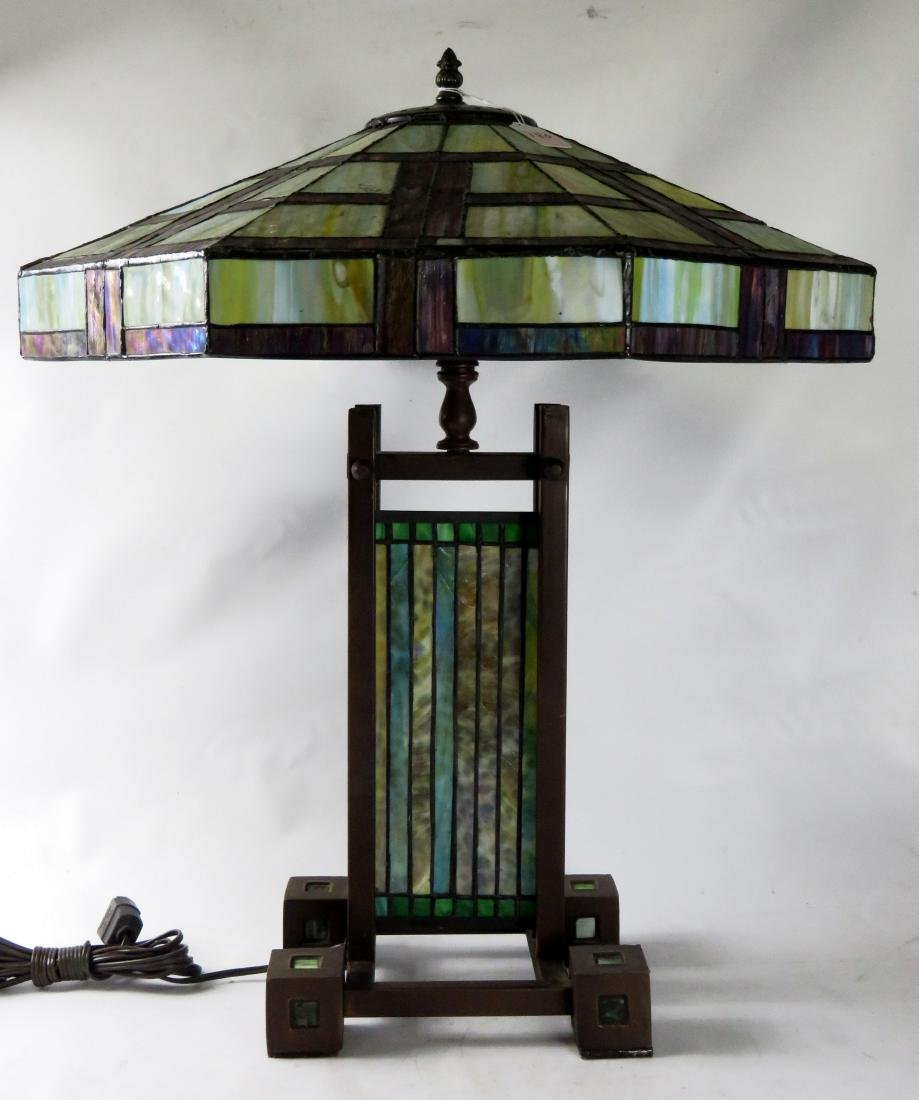 PRAIRIE SCHOOL DESIGN LEADED GLASS TABLE LAMP. HEIGHT