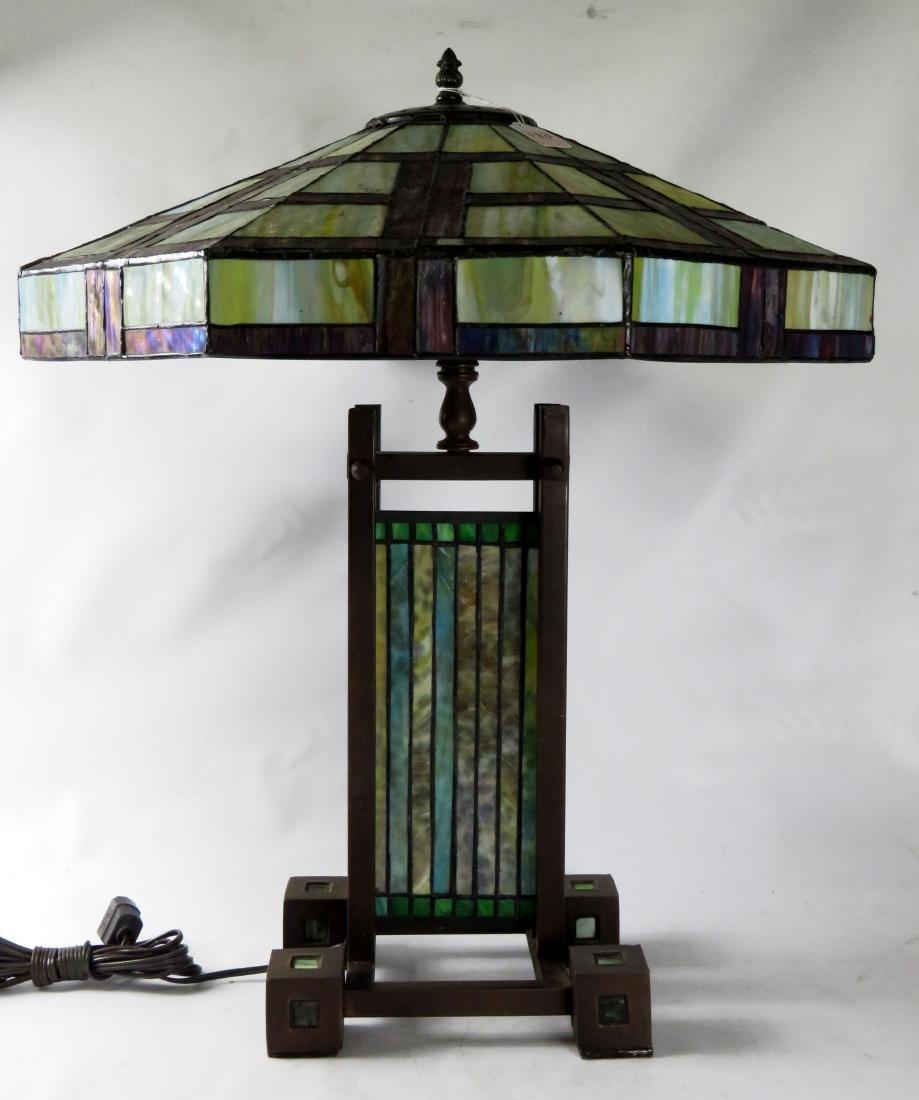 PRAIRIE SCHOOL DESIGN LEADED GLASS TABLE LAMP. HEIGHT