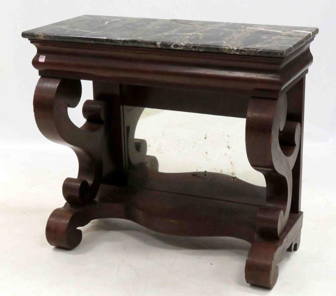 EMPIRE MAHOGANY MARBLE-TOP CONSOLE WITH INSET MIRROR,