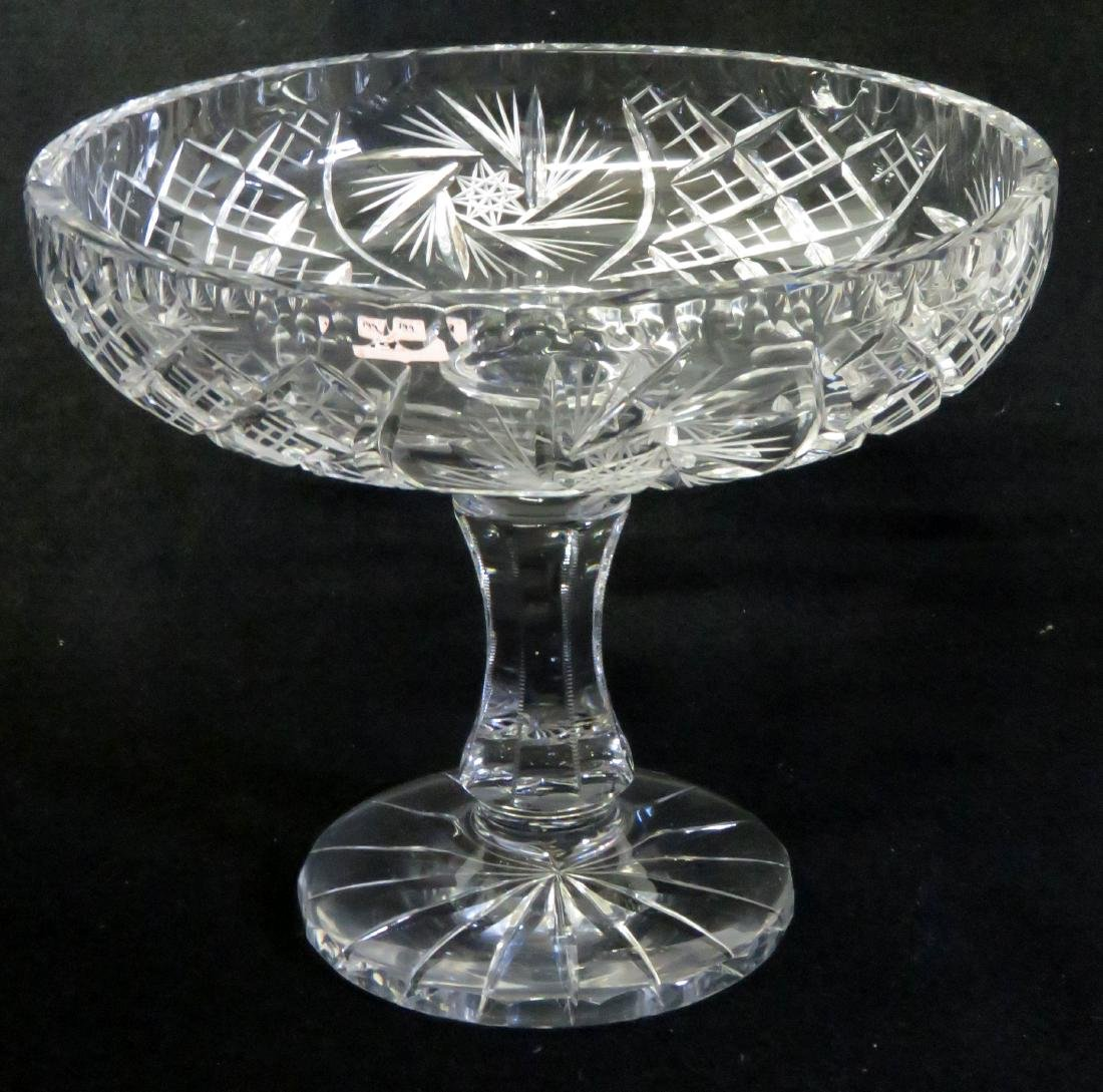 """CUT/PRESSED CRYSTAL COMPOTE. HEIGHT 8 3/4""""; DIAMETER 10"""