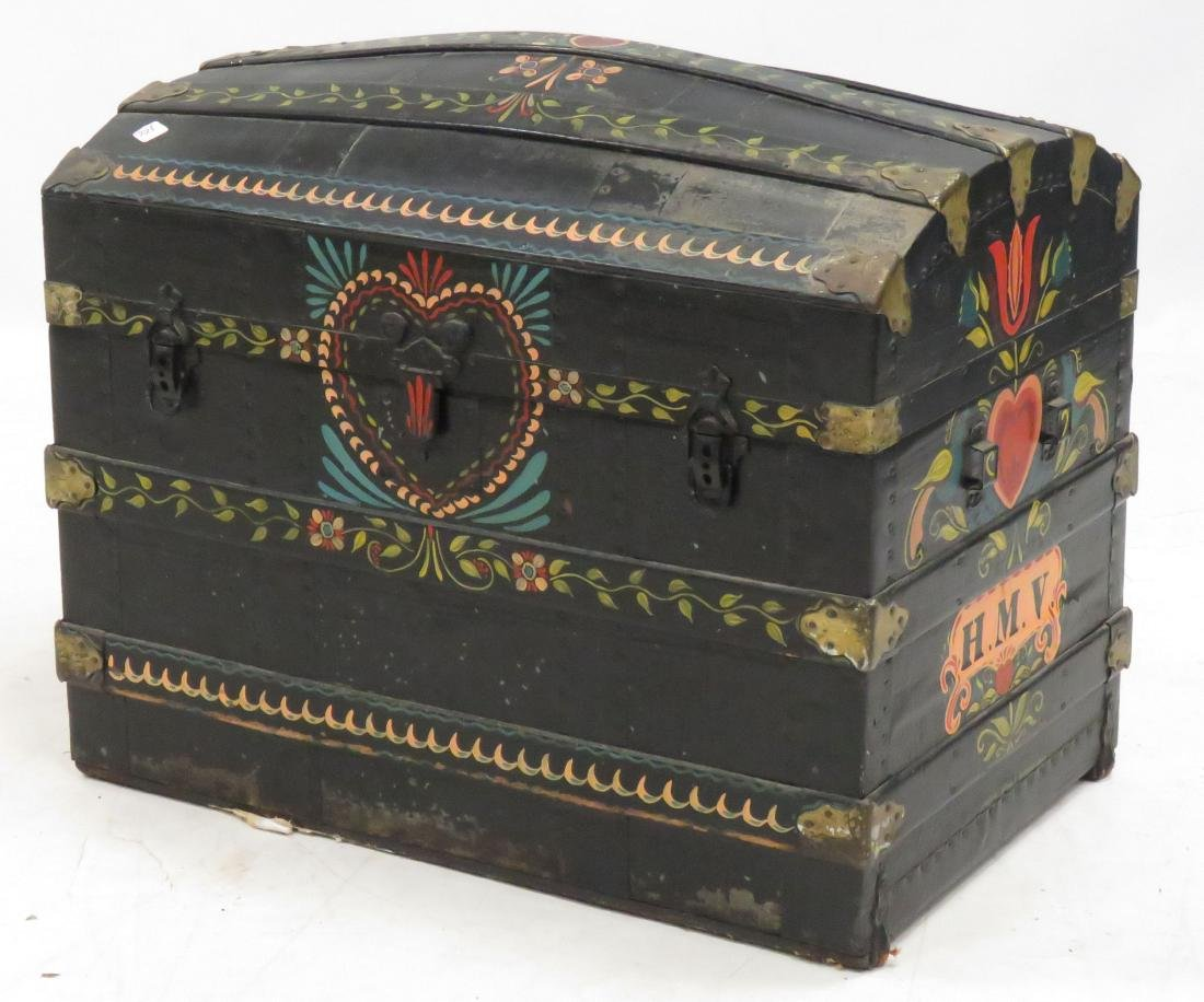 """HAND PAINTED DOME-TOP TRUNK, 19TH CENTURY. HEIGHT 26"""";"""