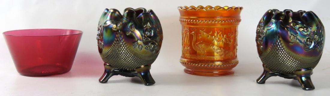 LOT (4) ART GLASS INCLUDING (3) NORTHWOOD CARNIVAL