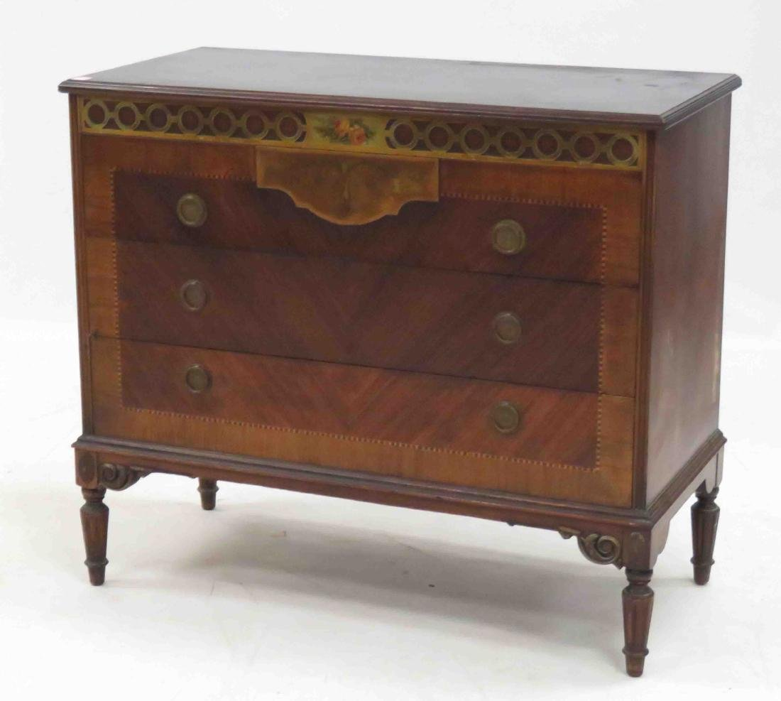 FRENCH STYLE CARVED/INLAID WALNUT CHEST OF DRAWERS,