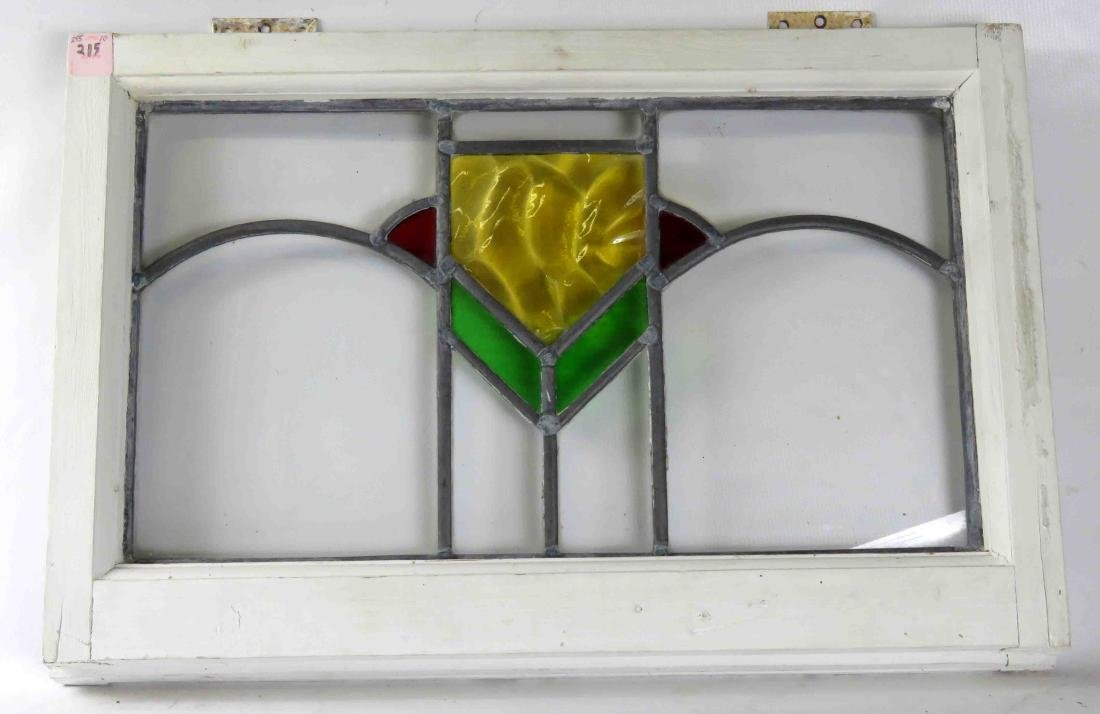 VINTAGE LEADED GLASS TRANSOM WINDOW WITH WHITE PAINTED