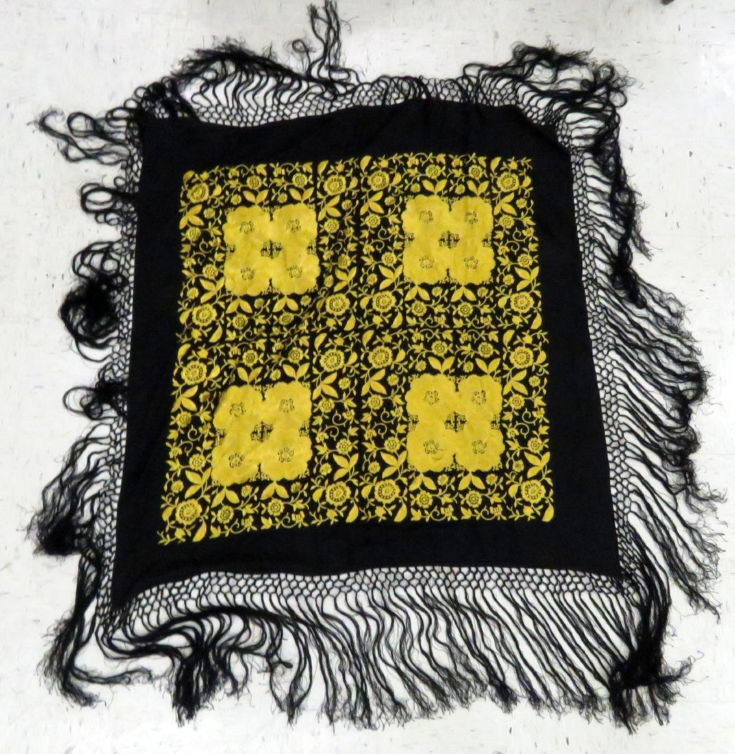 CHINESE BLACK/GOLD EMBROIDERED SCARF WITH BLACK FRINGED