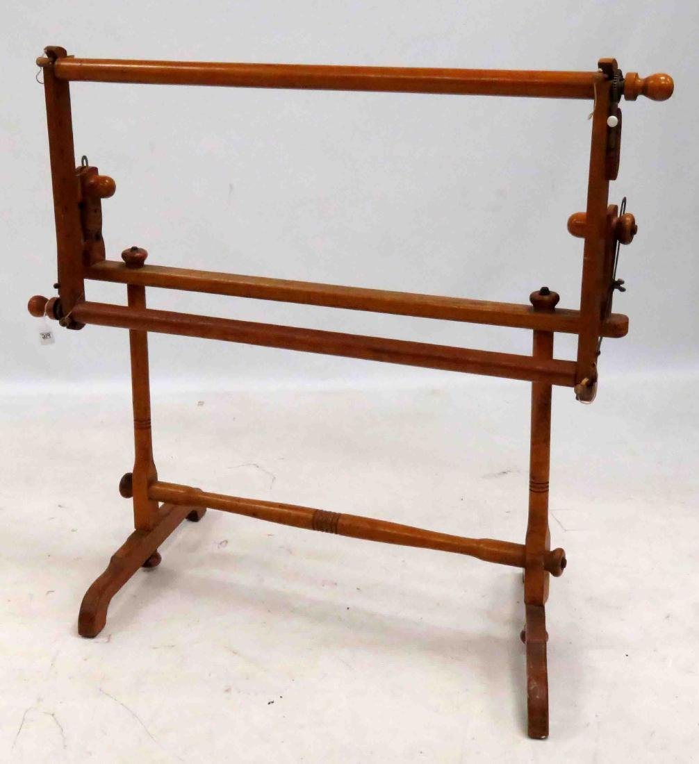 OAK/MAPLE NEEDLEPOINT/QUILTING FRAME, 19TH CENTURY.