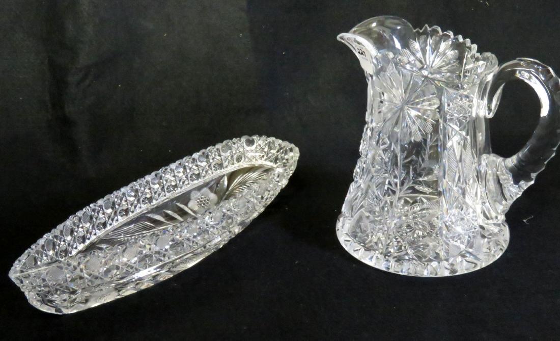 LOT (2) AMERICAN BRILLIANT CUT GLASS INCLUDING PITCHER