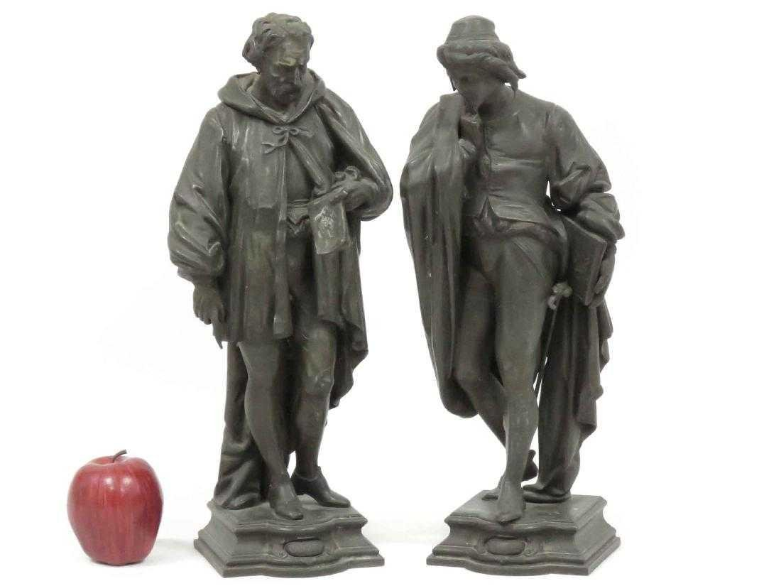 PAIR SPELTER FIGURAL LAMP BASE, CORRECE AND CLERONESE.