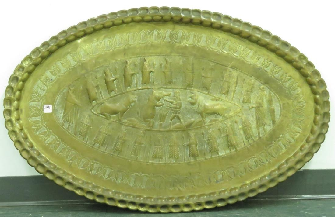 TURKISH REPOUSSE BRASS OVAL TRAY. 26 1/2 X 41""