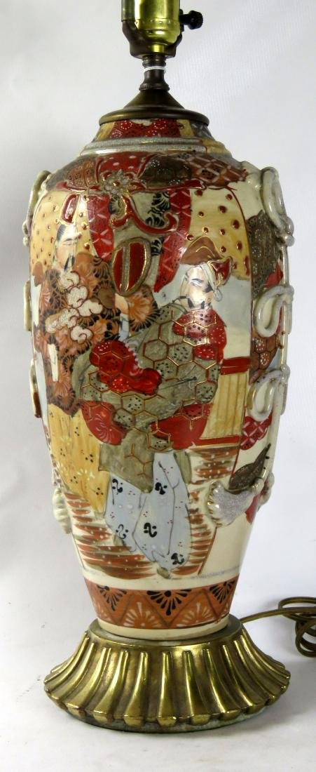 JAPANESE/SATSUMA POTTERY VASE, MOUNTED AS A LAMP.