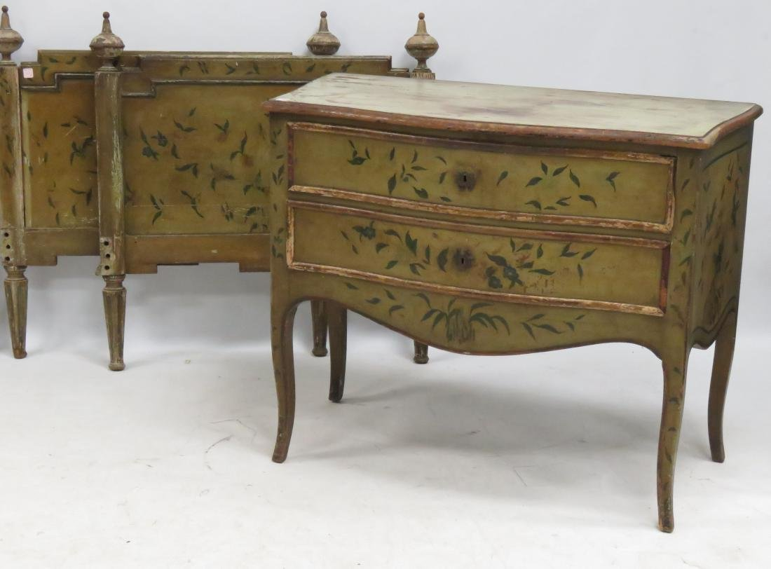 LOT (2) INCLUDING FRENCH PAINT DECORATED CHEST OF - 2