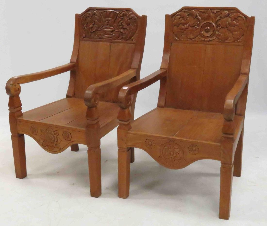 PAIR SPANISH COLONIAL STYLE CARVED MAHOGANY ARMCHAIRS