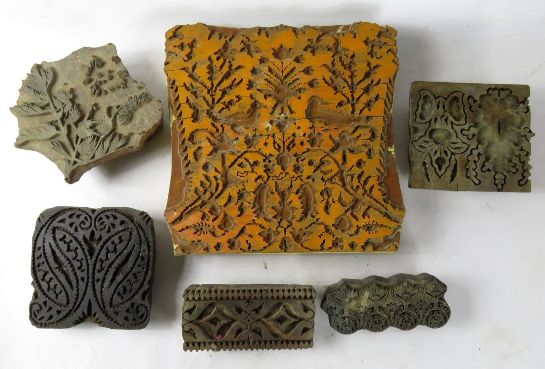 LOT (6) ASSORTED INDIAN CARVED WOOD FABRIC PRINT BLOCKS