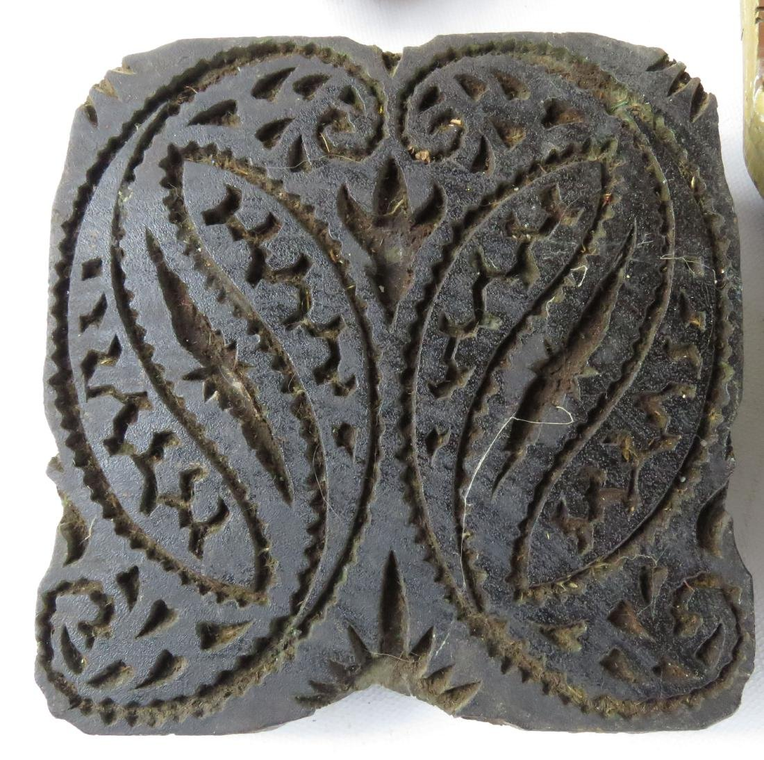 LOT (6) ASSORTED INDIAN CARVED WOOD FABRIC PRINT BLOCKS - 4