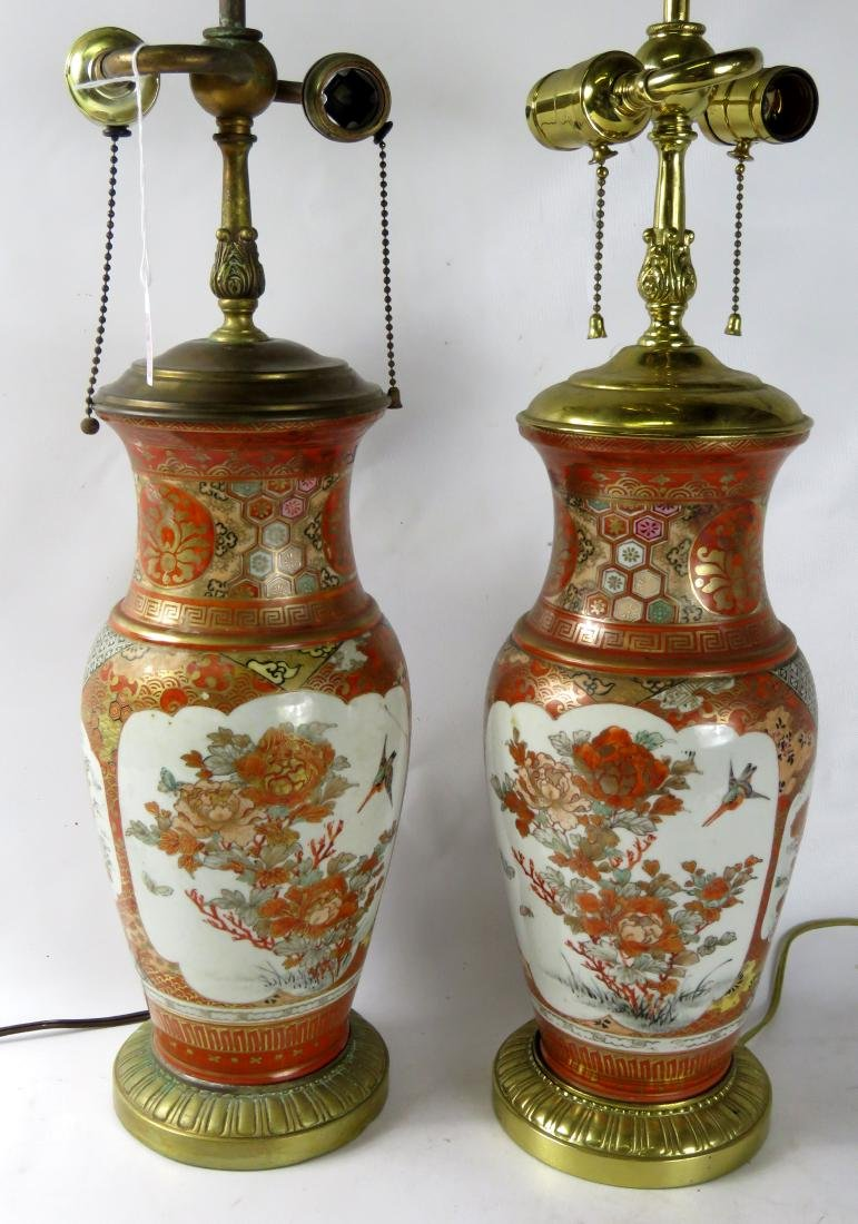 PAIR KUTANI PORCELAIN VASES, MOUNTED AS LAMPS. OVERALL