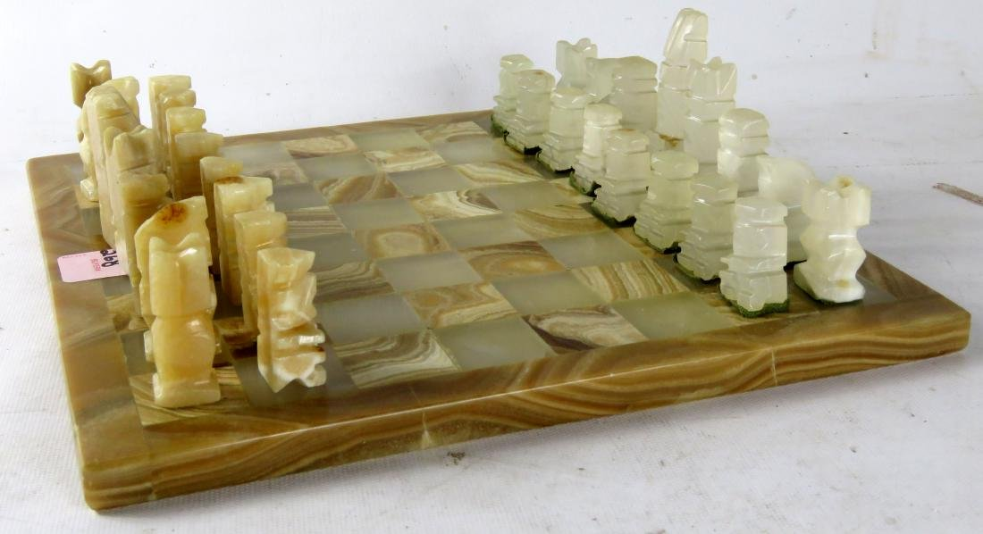 """CARVED AGATE CHESS SET. BOARD 10 1/2 X 10 1/2"""""""