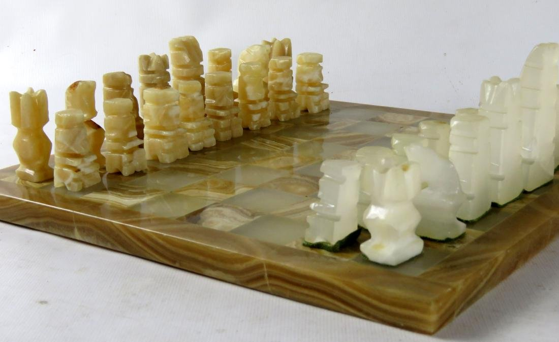 """CARVED AGATE CHESS SET. BOARD 10 1/2 X 10 1/2"""" - 2"""