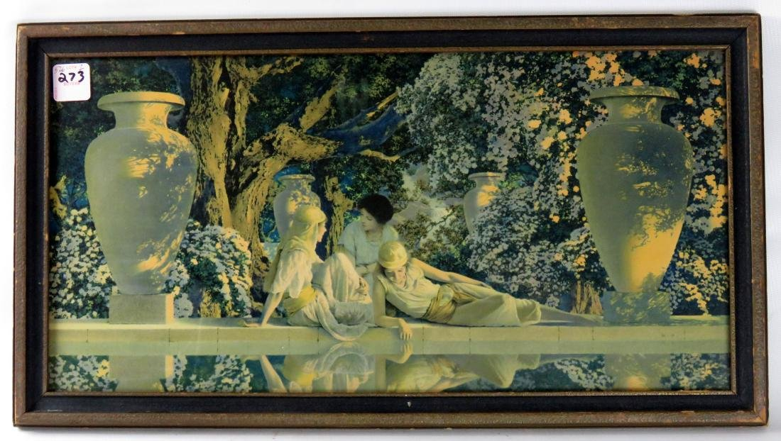"MAXFIELD PARRISH PRINT, ""GARDEN OF ALLAH"". FRAMED &"